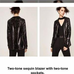 Zara sequin blazer/tuxedo jacket